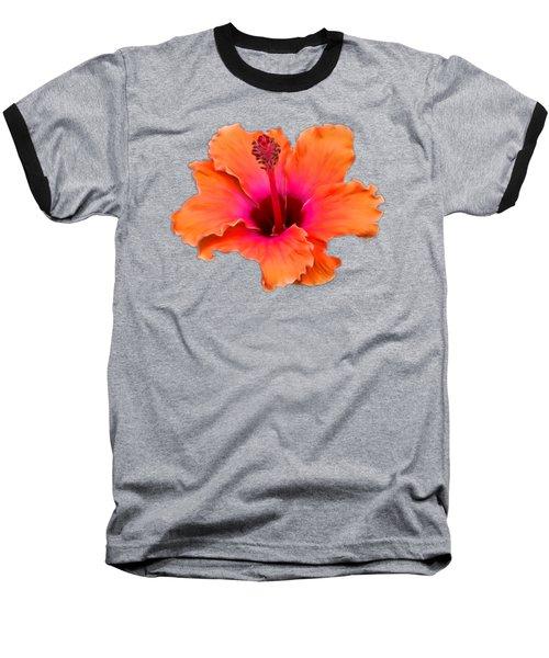 Orange And Pink Hibiscus Baseball T-Shirt by Pamela Walton