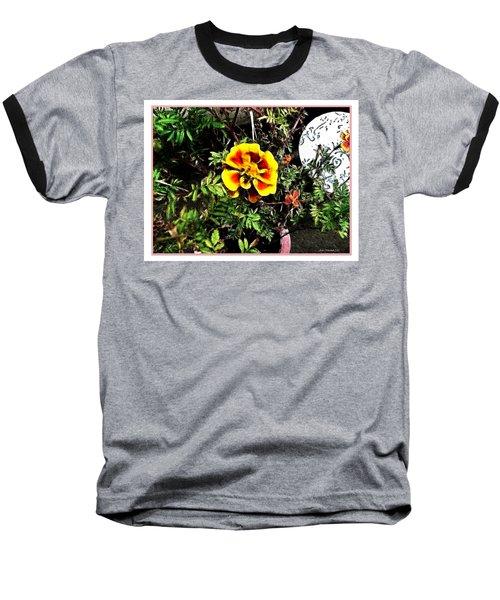 Baseball T-Shirt featuring the photograph Orange And Yellow Flower by Joan  Minchak