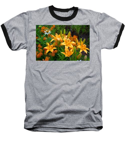 Baseball T-Shirt featuring the photograph Orange Asiatic Lilies And Butterfly Weed by Kathryn Meyer