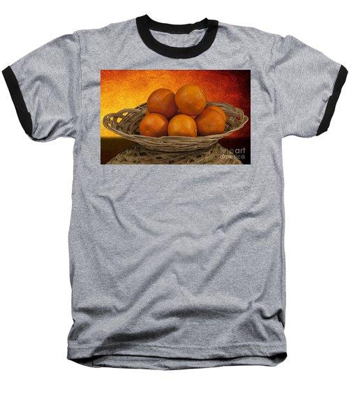 Orange Basket Baseball T-Shirt by Shirley Mangini
