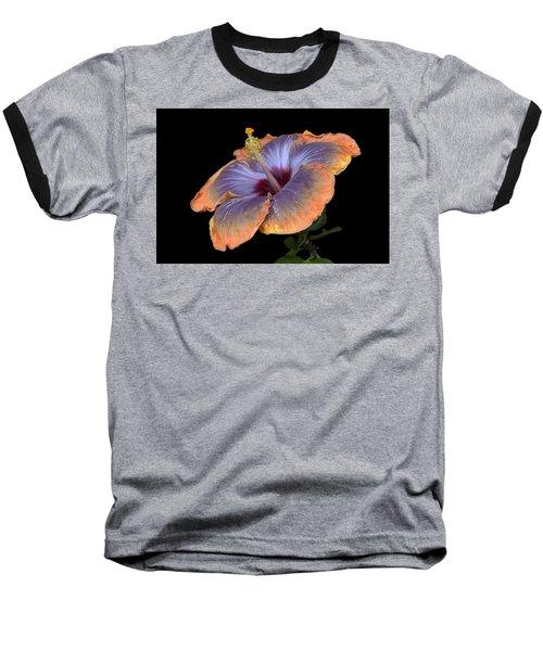 Orange-blue Hibiscus Baseball T-Shirt