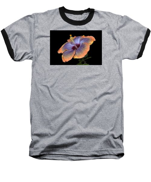 Orange-blue Hibiscus Baseball T-Shirt