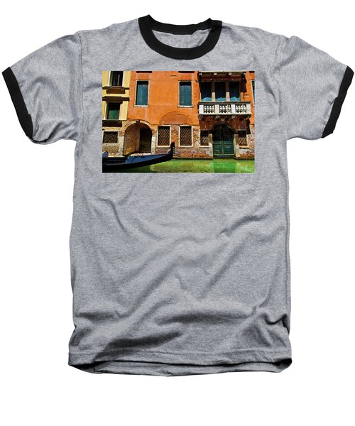Baseball T-Shirt featuring the photograph Orange Building And Gondola by Harry Spitz