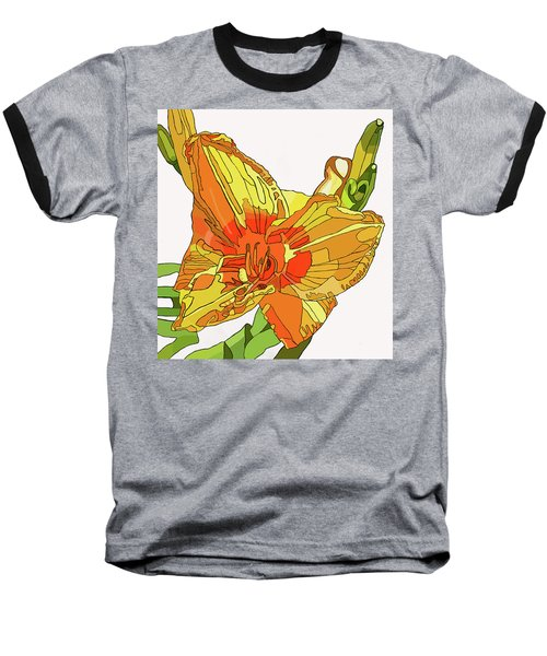 Orange Canna Lily Baseball T-Shirt by Jamie Downs