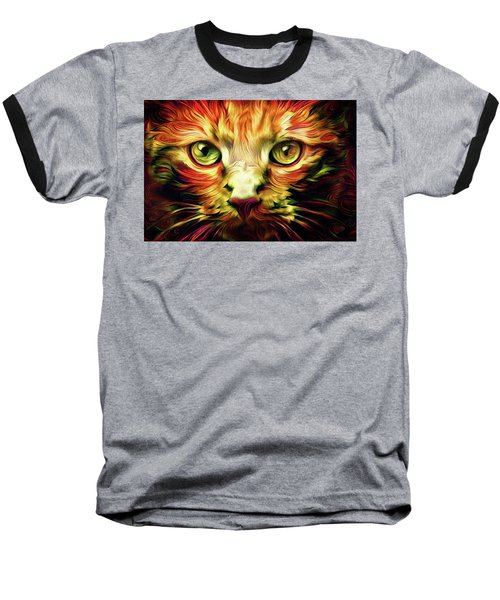 Orange Cat Art - Feed Me Baseball T-Shirt