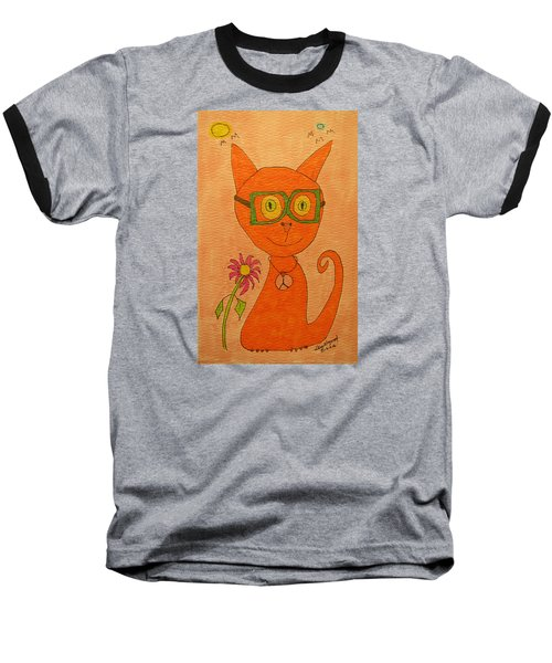 Orange Cat With Glasses Baseball T-Shirt