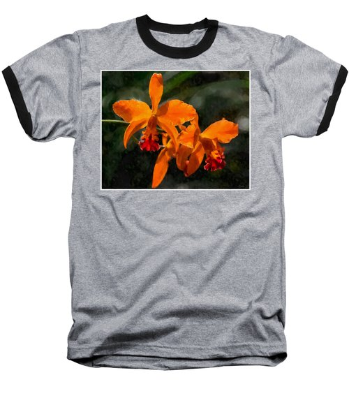 Orange Cattleya Orchid Baseball T-Shirt by Kai Saarto