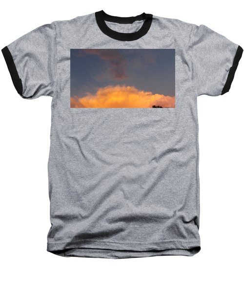 Orange Cloud With Grey Puffs Baseball T-Shirt by Don Koester