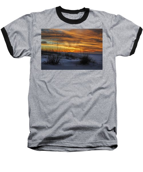 Orange Clouded Sunrise Over The Pier Baseball T-Shirt by Michael Thomas