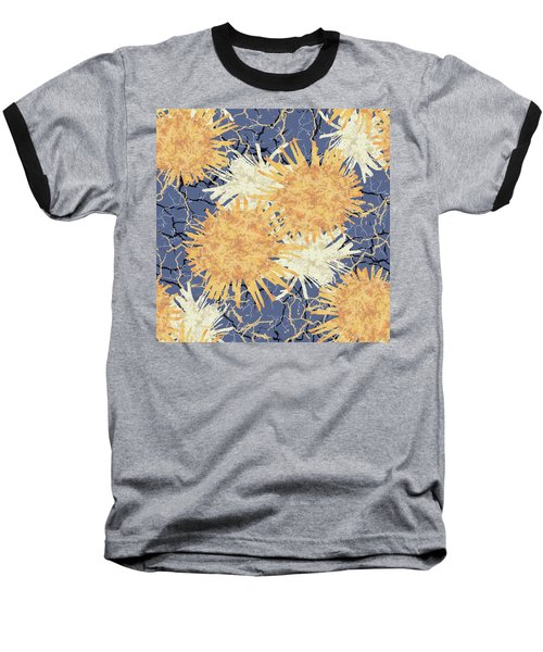 Orange Cobwebs Pattern Baseball T-Shirt