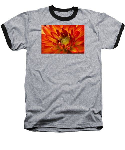 Orange Dahlia Baseball T-Shirt