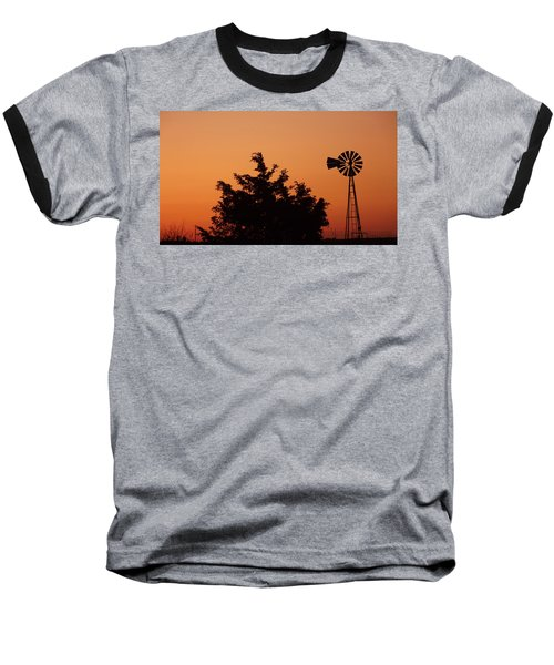 Orange Dawn With Windmill Baseball T-Shirt