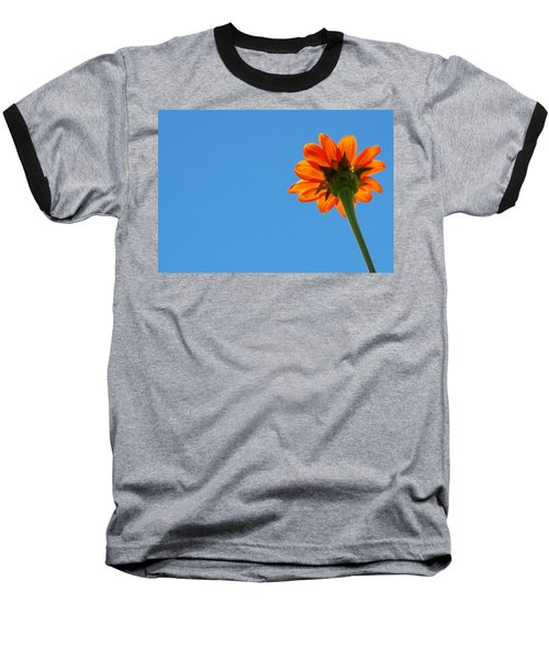 Orange Flower On Blue Sky Baseball T-Shirt by Debbie Karnes