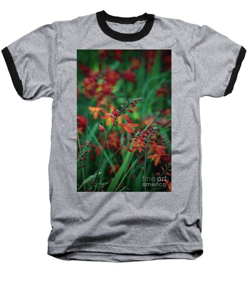 Orange Flowers 8 Baseball T-Shirt