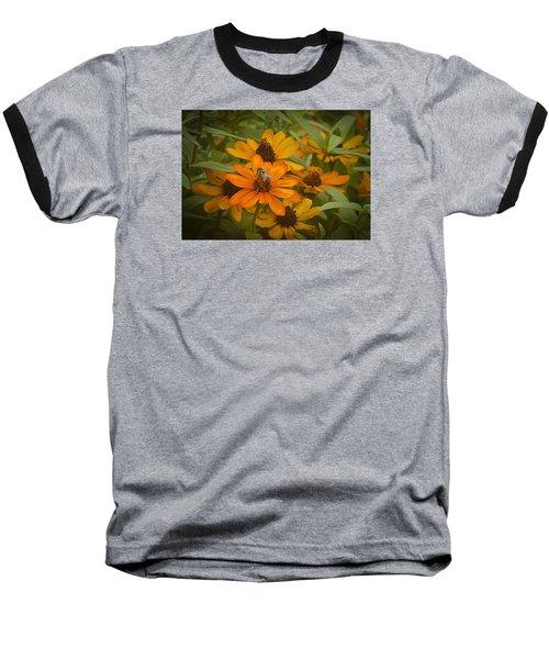 Orange Flowers And Bee Baseball T-Shirt