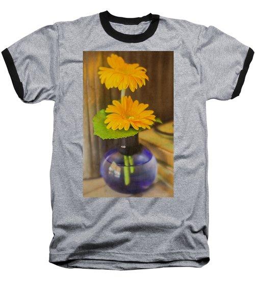 Orange Flowers Blue Vase Baseball T-Shirt