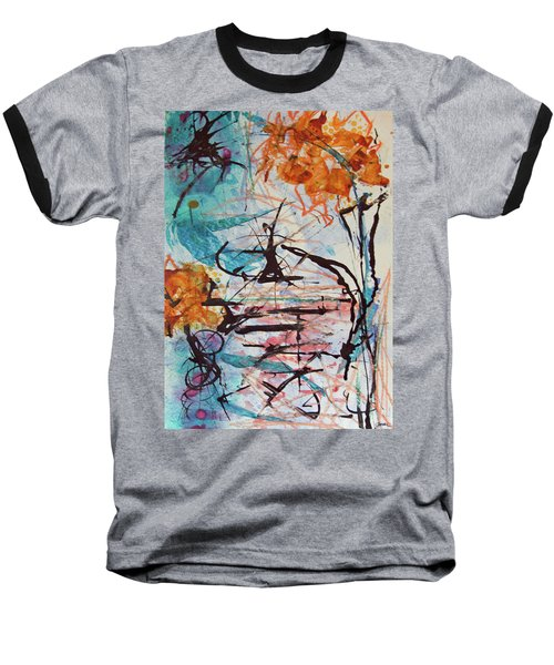 Orange Flowers In Vase Baseball T-Shirt