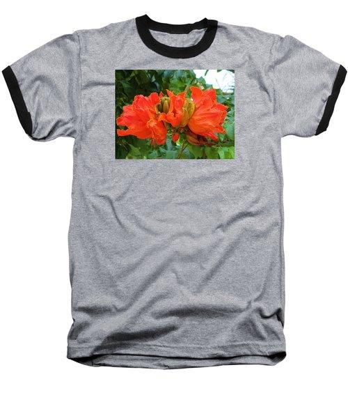 Orange Flowers Baseball T-Shirt