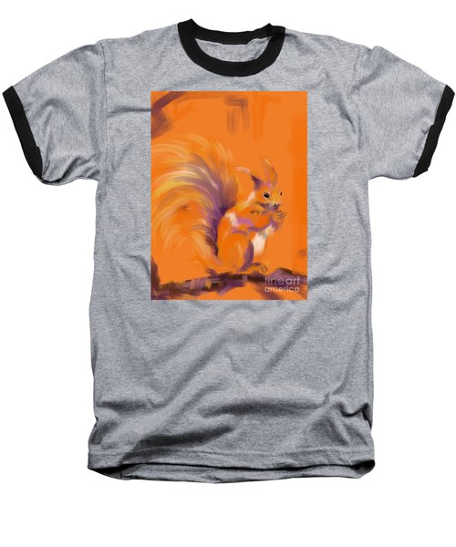 Orange Forest Squirrel Baseball T-Shirt by Go Van Kampen