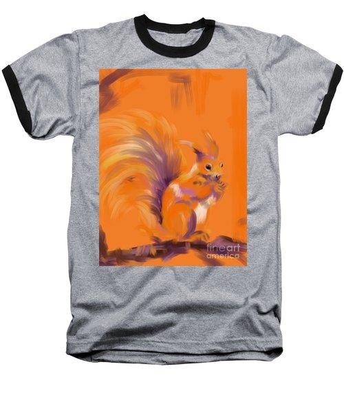 Orange Forest Squirrel Baseball T-Shirt