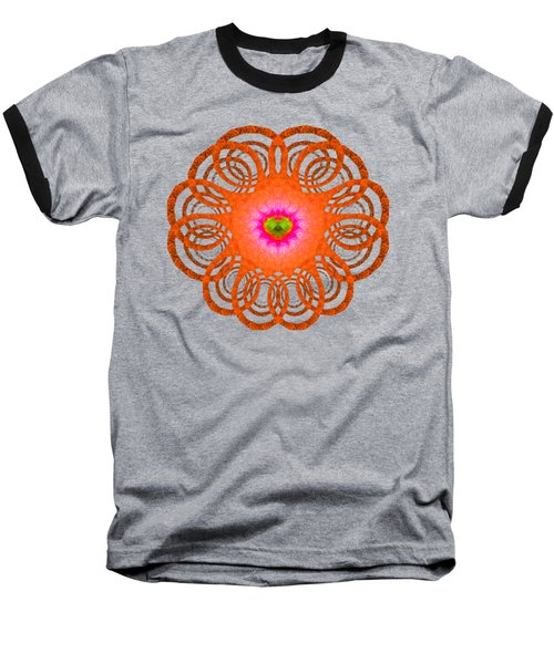 Orange Fractal Art Mandala Style Baseball T-Shirt