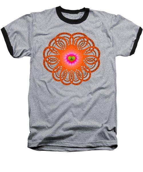 Orange Fractal Art Mandala Style Baseball T-Shirt