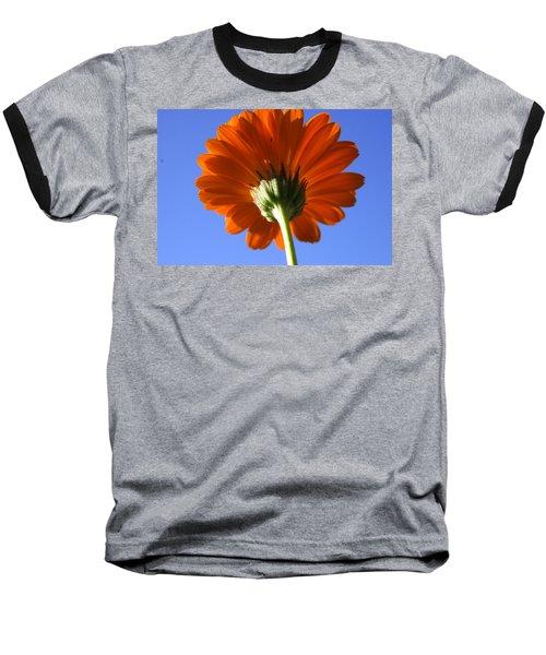 Orange Gerbera Flower Baseball T-Shirt