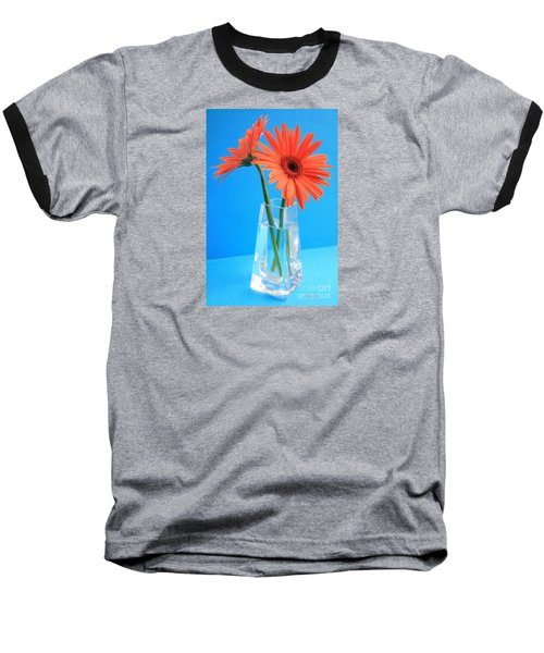 Orange Gerberas In A Vase - Aqua Background Baseball T-Shirt