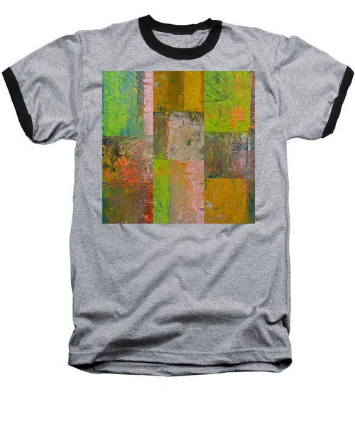 Baseball T-Shirt featuring the painting Orange Green And Grey by Michelle Calkins