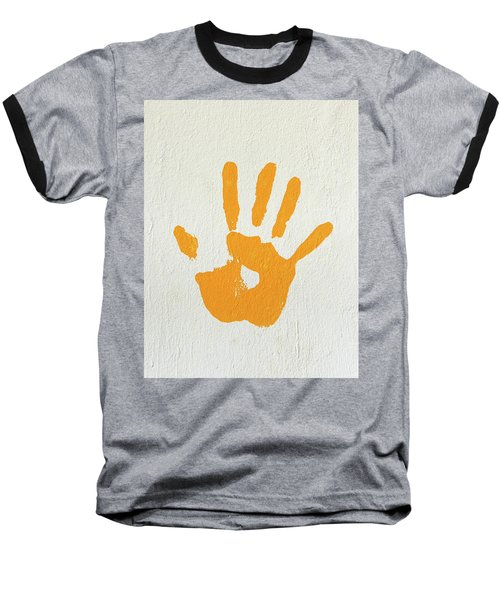Orange Handprint On A Wall Baseball T-Shirt