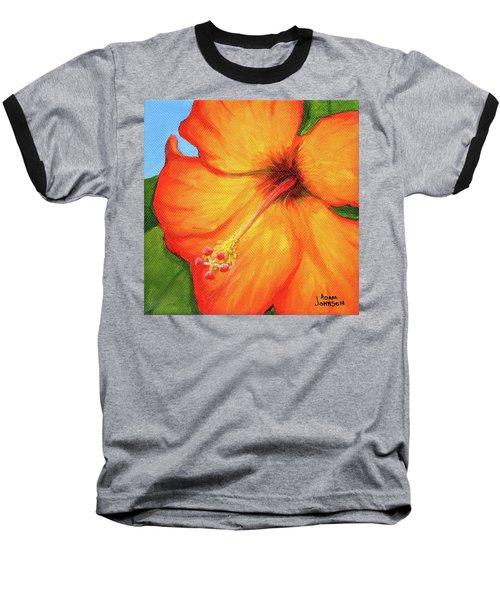Orange Hibiscus Flower Baseball T-Shirt