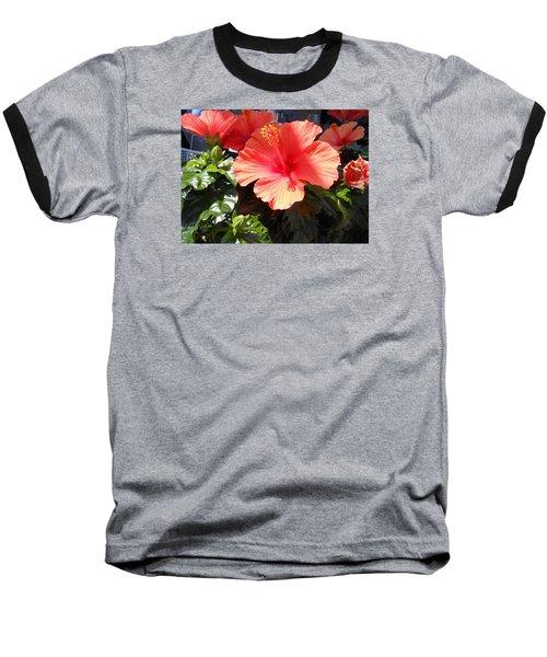 Orange Hibiscus Baseball T-Shirt