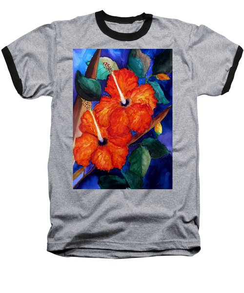 Orange Hibiscus Baseball T-Shirt