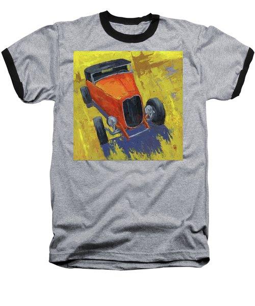Orange Hot Rod Roadster Baseball T-Shirt