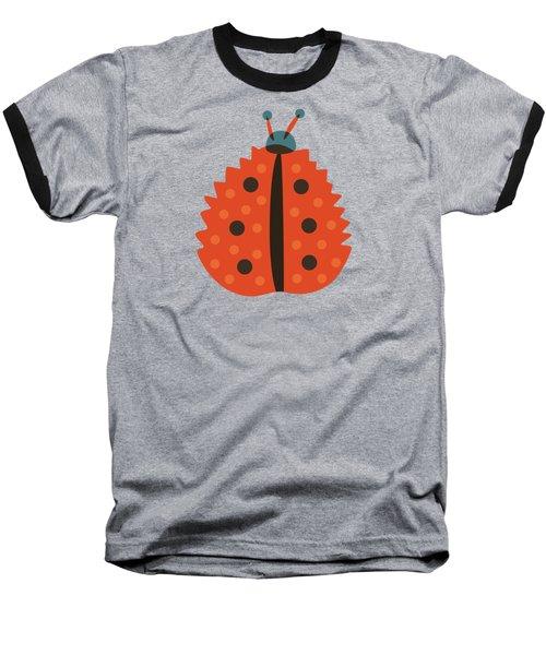 Orange Ladybug Masked As Autumn Leaf Baseball T-Shirt