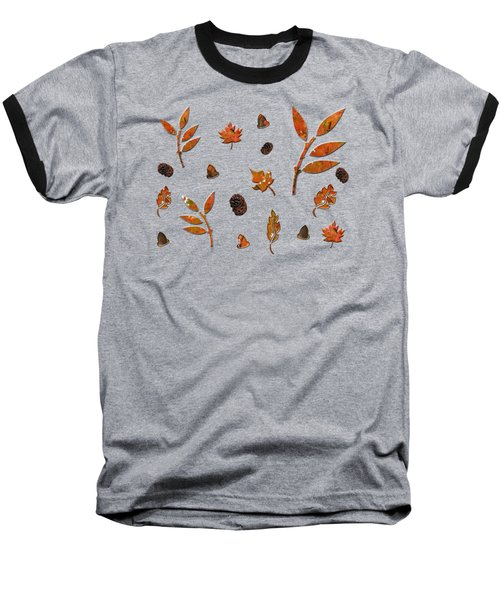 Orange Leaves Pine Cones Baseball T-Shirt