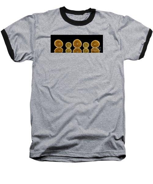 Orange Lemon Reflection Baseball T-Shirt by Shirley Mangini