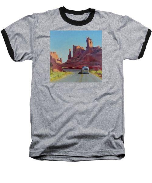 Orange Light On Red Rocks Baseball T-Shirt