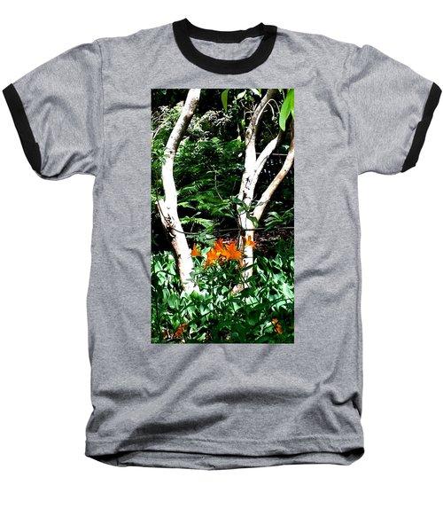 Orange Lilies Baseball T-Shirt