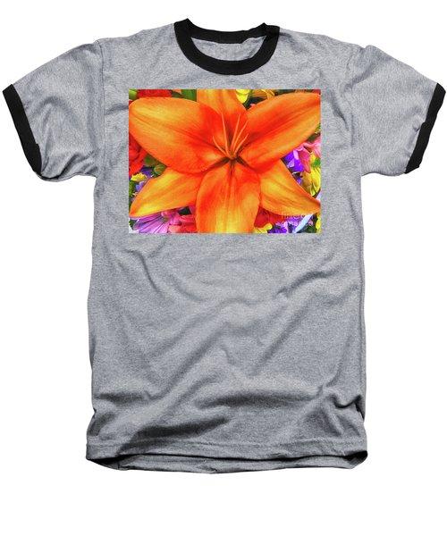 Baseball T-Shirt featuring the painting Orange Lilly Art by Deborah Benoit