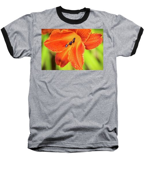 Orange Lilly Of The Morning Baseball T-Shirt by Ken Stanback