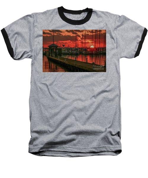 Orange Marina Sunrise Baseball T-Shirt