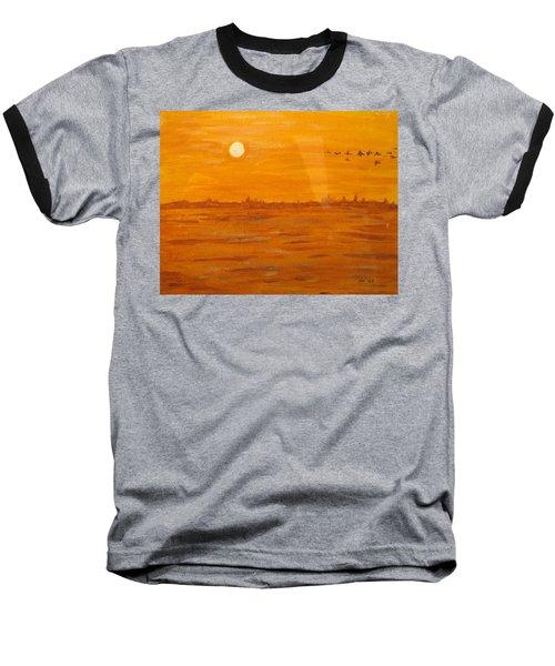 Baseball T-Shirt featuring the painting Orange Ocean by Ian  MacDonald