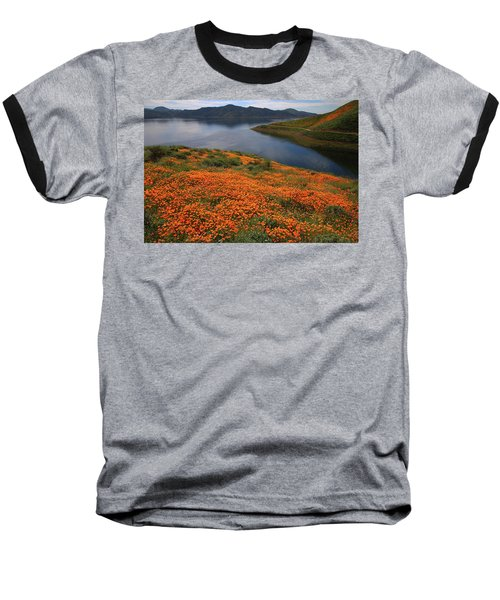 Baseball T-Shirt featuring the photograph Orange Poppy Fields At Diamond Lake In California by Jetson Nguyen