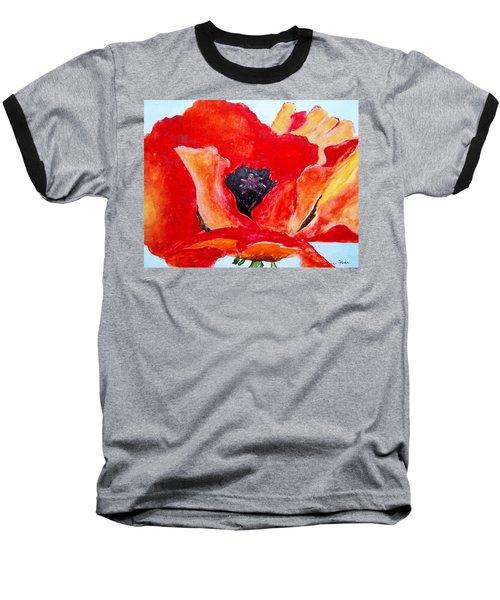 Orange Poppy Baseball T-Shirt