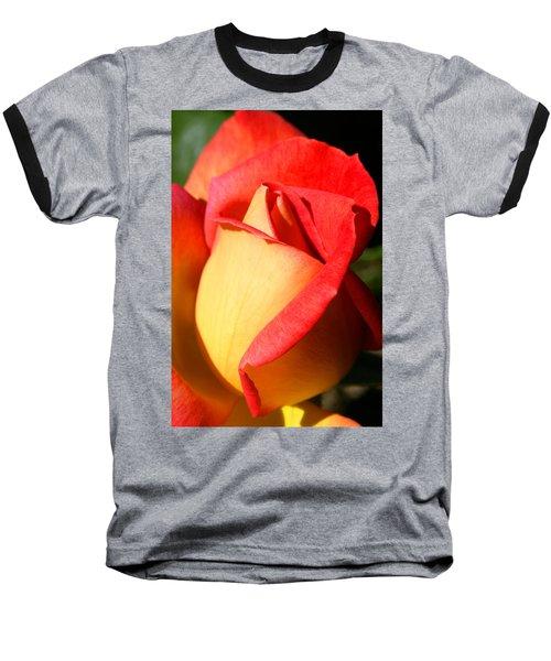 Orange Rosebud Baseball T-Shirt by Ralph A  Ledergerber-Photography