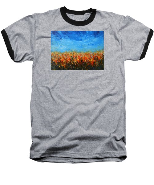 Baseball T-Shirt featuring the painting Orange Sensation by Jane See