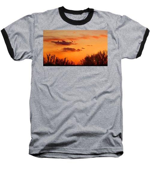 Baseball T-Shirt featuring the digital art Orange Sky At Night by Shelli Fitzpatrick
