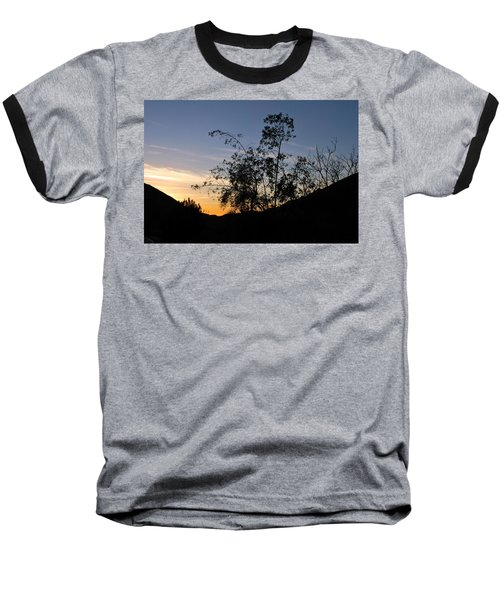 Orange Sky Nature Silhouette Baseball T-Shirt