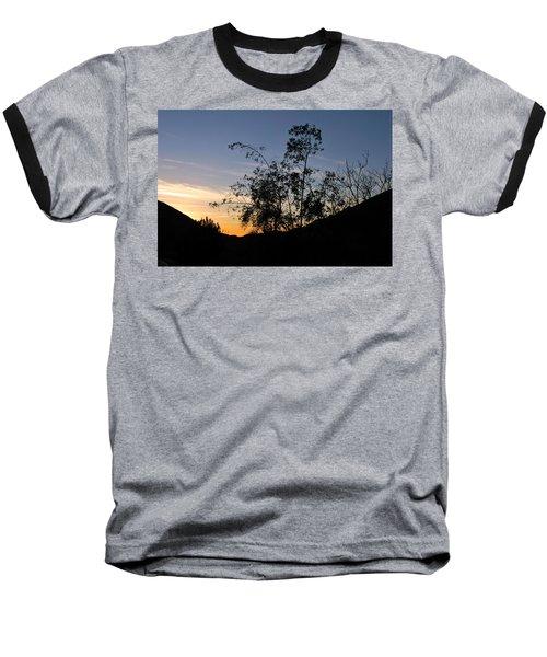 Orange Sky Nature Silhouette Baseball T-Shirt